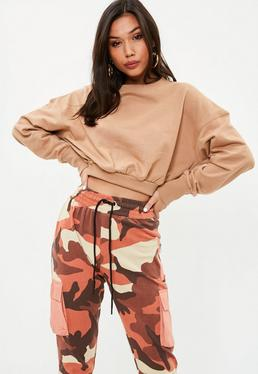 Tall Tan Long Sleeve Cropped Sweatshirt