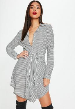 Tall White Long Sleeve Stripe Shirt Dress