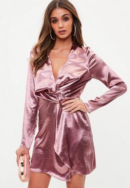 Tall Różowa zawijana satynowa sukienka
