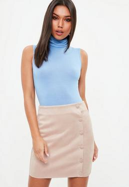 Tall Nude Suede Button Front Mini Skirt