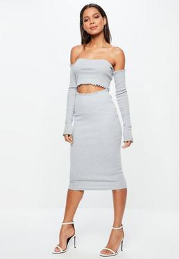 Tall Grey Lattice Hem Ribbed Midi Skirt