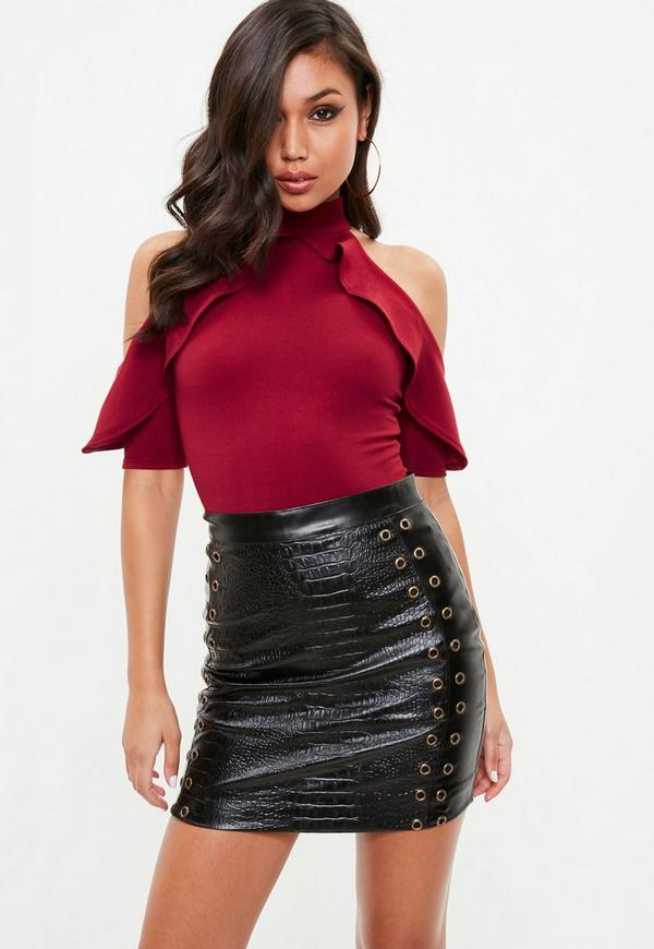 Tall Wine Frill Cold Shoulder Bodysuit by Missguided
