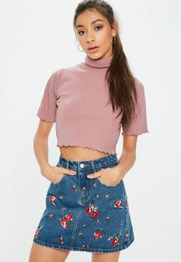 Tall Rose Pink Roll Neck Ribbed Crop Top