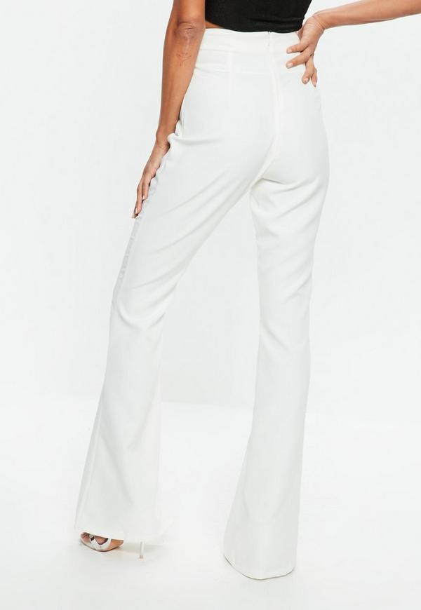 Tall White Flared Pants Missguided