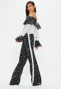 Tall Black Wide Leg Floral Trousers