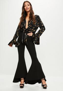 Tall Black Asymmetric Flared Pants