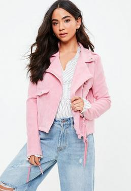 Tall Pink Cropped Faux Suede Biker Jacket