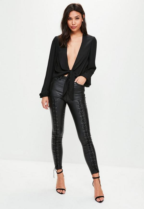 Tall Black Tie Front Long Sleeve Blouse Missguided