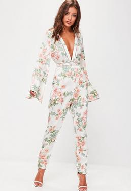 White Floral Print Satin Jumpsuit