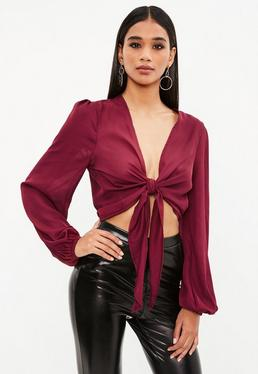 Tall Burgundy Wrap Front Top