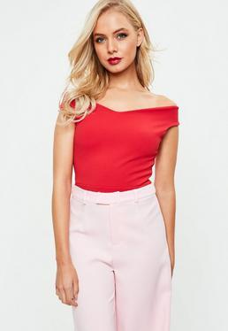 Tall Red Bardot Crepe Bodysuit