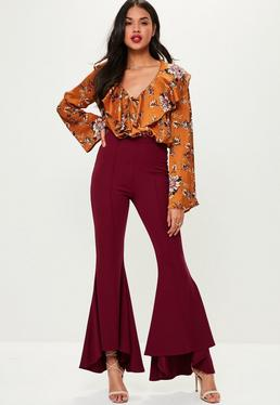 Tall Burgundy Asymmetric Flared Pants