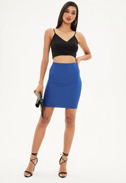 Tall Blue Bandage Mini Skirt