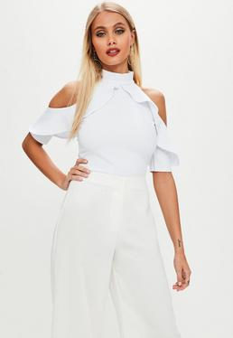 Tall White Frill Cold Shoulder Bodysuit