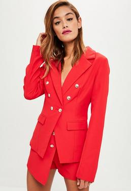 Tall Red Military Blazer