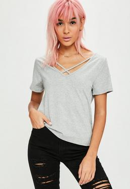 Tall Gray V Neck Cross Strap T-Shirt