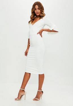 Tall White Flare Sleeves Dress