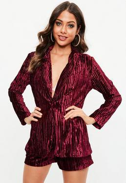 Tall Burgundy Pleated Velvet Suit Shorts