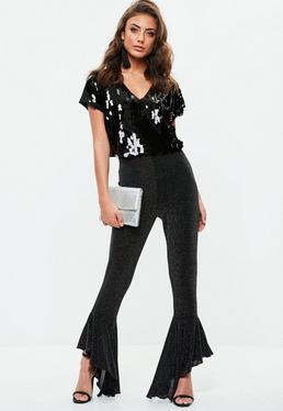 Pantalón tall lurex con volantes en negro