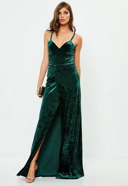 Tall Green Crushed Velvet Maxi Dress