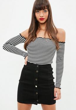 Tall Black Super Stretch Denim Mini Skirt