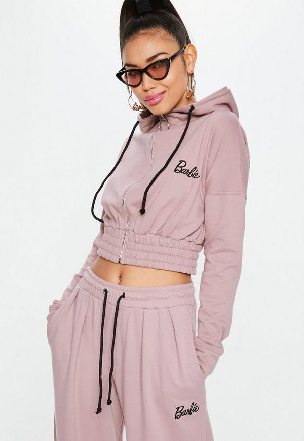 ada97f7638 Barbie X Missguided Pink Long Sleeve Ring Zip Hooded Top Missguided ...