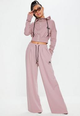 Barbie x Missguided Tall Różowe spodnie dresowe z szerokimi nogawkami