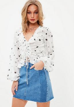Tall Blue Stripe Denim Mini Skirt