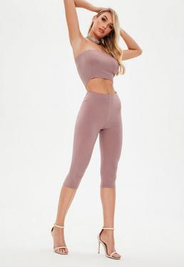 Tall Pink Ribbed Cycle Leggings