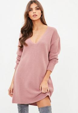Tall Różowa swetrowa sukienka
