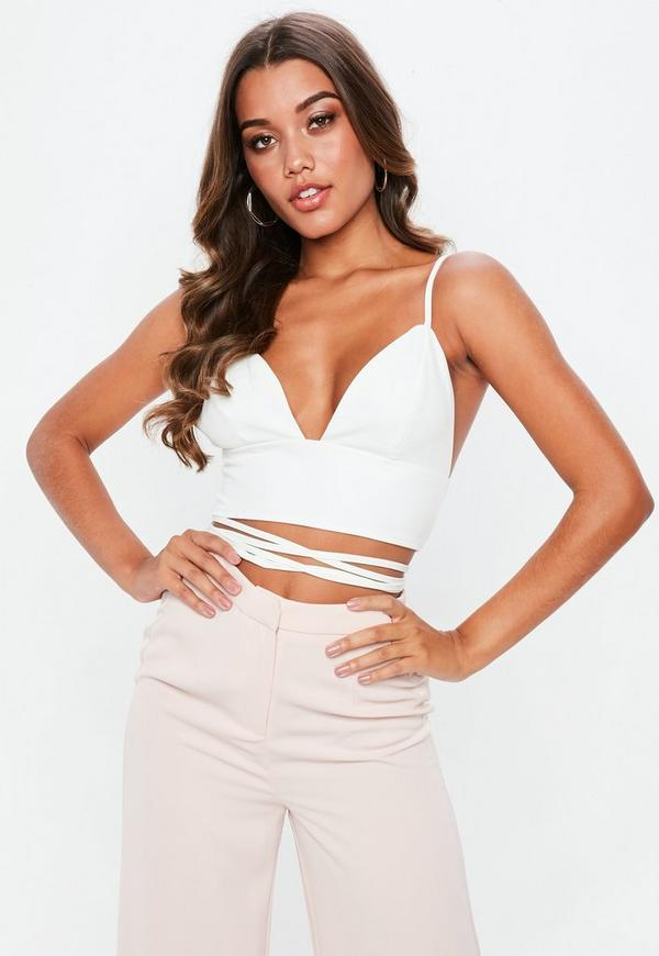 Tall White Woven Wrap Around Crop Top by Missguided