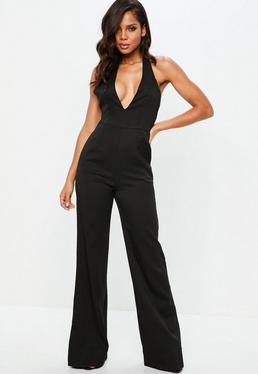 Tall Black Wide Leg Deep Cuff Jumpsuit