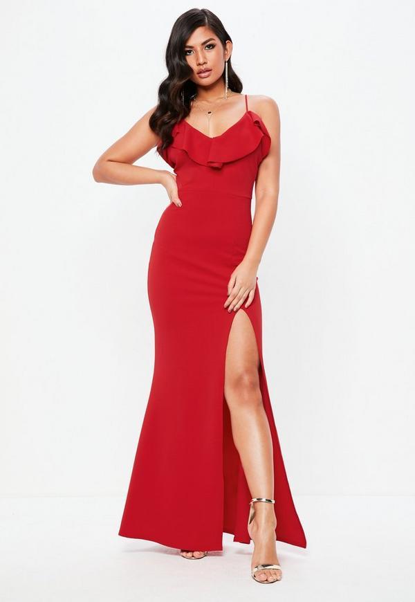 10b701df58 Tall Red Frill Detail Plunge Neck Maxi Dress