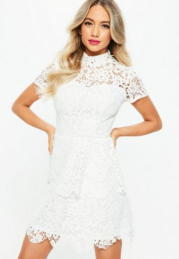 Tall White Short Sleeve Layered Lace Dress Missguided