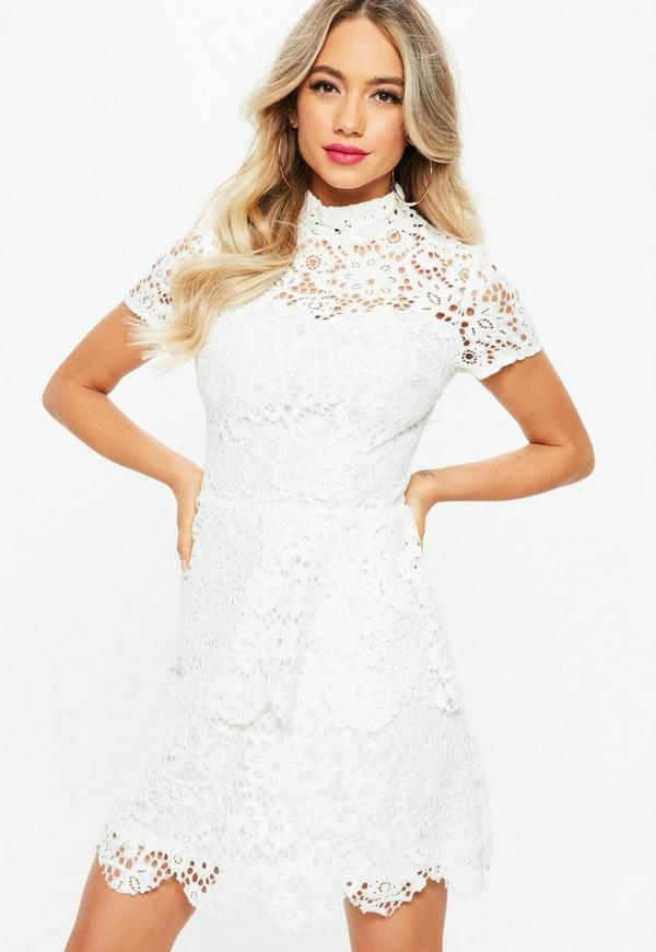 Tall White Short Sleeve Layered Lace Dress | Missguided