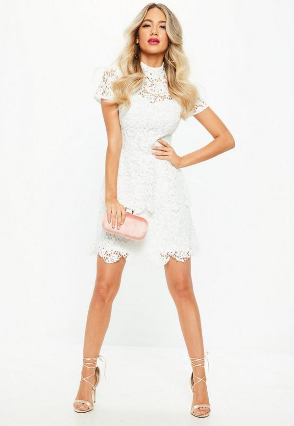 Short White Cocktail Dress with Sleeves