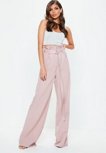 cbecd68c02 Tall Pink Paperbag Wide Leg Trousers | Missguided Australia