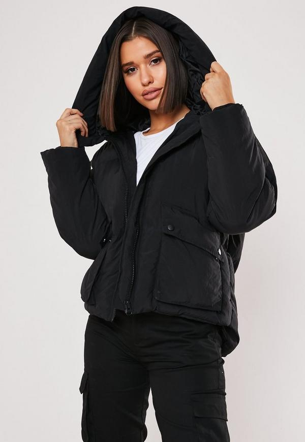 Tall Black Ultimate Hooded Puffer Jacket by Missguided