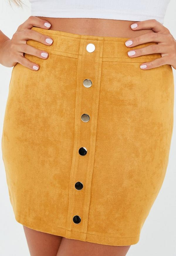 5b9ba4d6a39 ... Tall Mustard Button Through Suede Mini Skirt. Previous Next