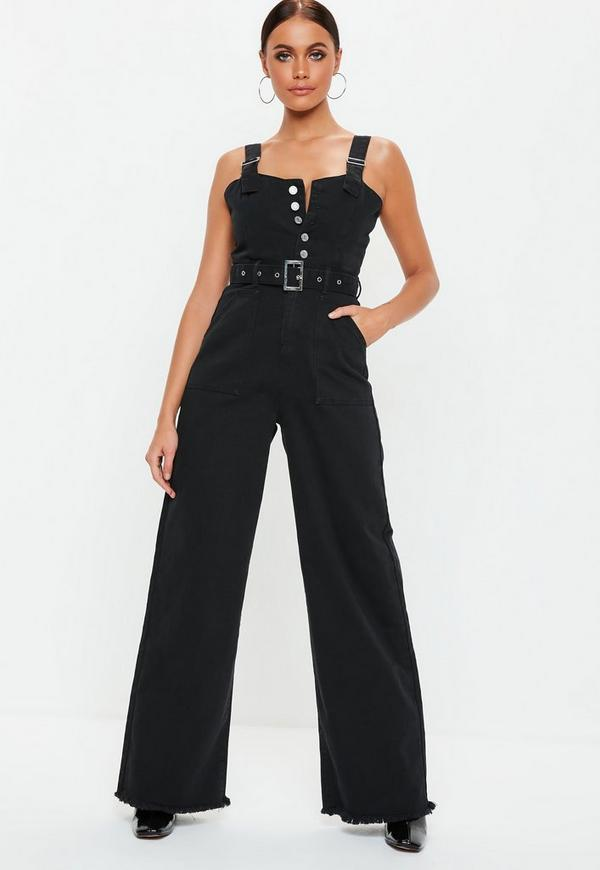 2731ffbe7157 Tall Black Denim Utility Belted Wide Leg Jumpsuit. Previous Next