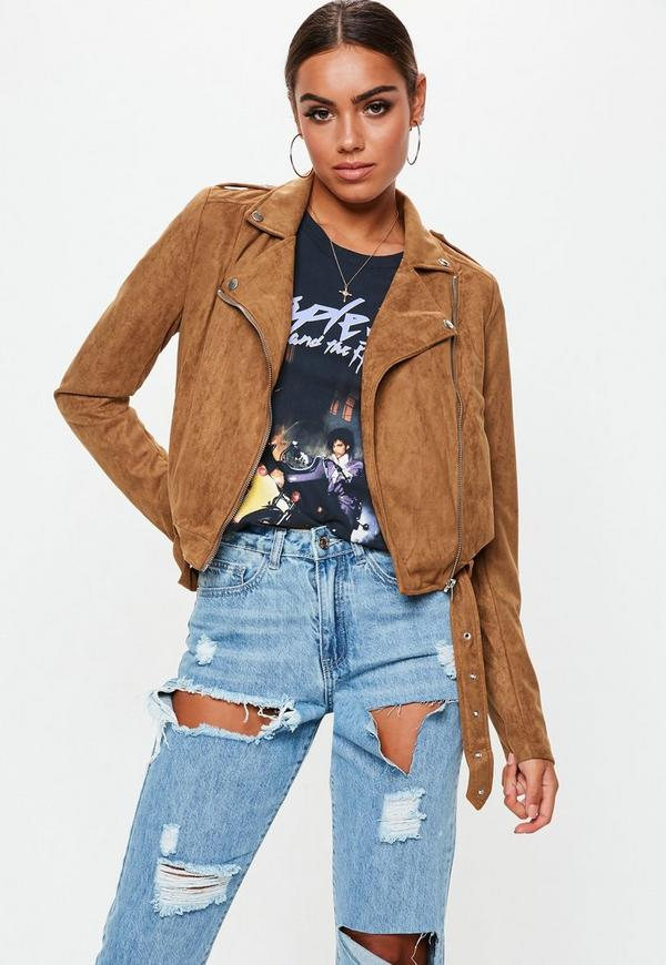 Tall Tan Cropped Suedette Biker Jacket | Missguided