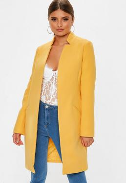 Tall Yellow Inverted Collar Formal Coat 990927586