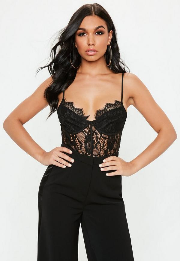 Tall Black Strappy Lace Cupped Bodysuit
