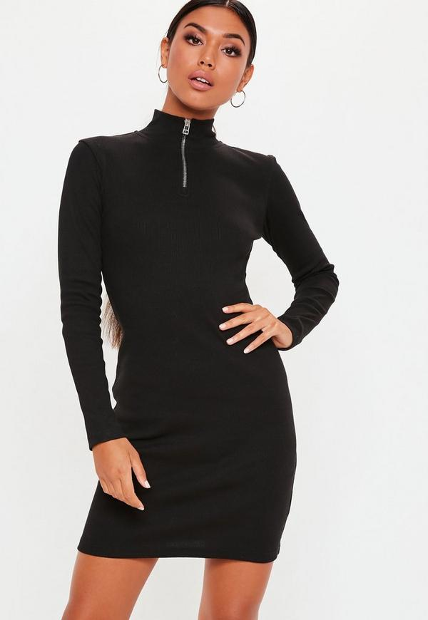 Tall Black Zip Front High Neck Ribbed Bodycon Dress Missguided