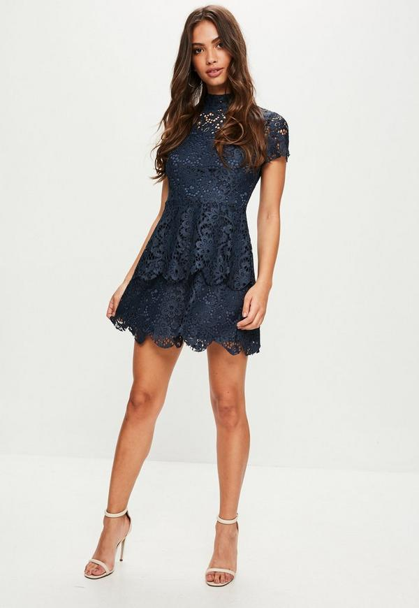Tall Navy Short Sleeve Double Layer Skater Dress Missguided