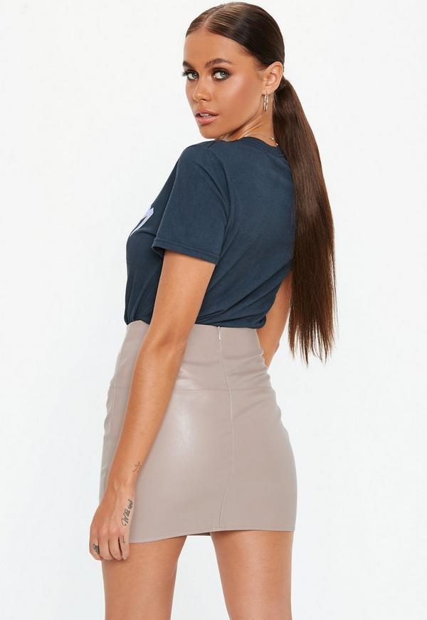 b0fd9263c1 Tall Grey Faux Leather Mini Skirt. Previous Next