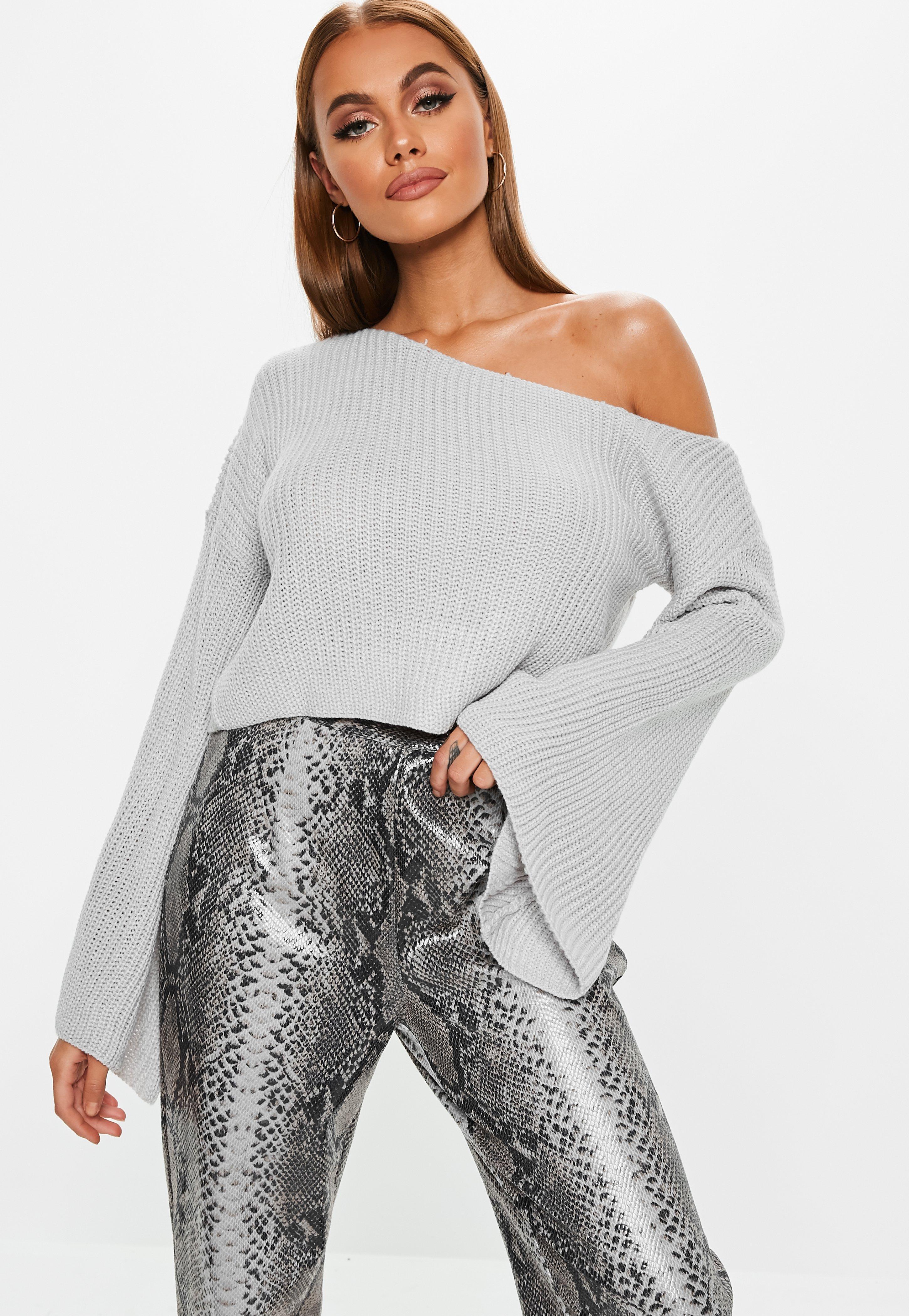 Tall Gray Off Shoulder Flare Sleeve Sweater de2f2f8b1