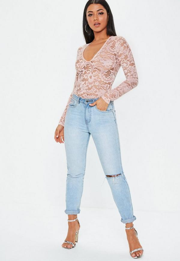 Tall Pink Long Sleeve Lace Bodysuit   Missguided