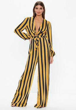 a6ab4dc8c6c5 Tall Mustard Striped Wide Leg Trousers