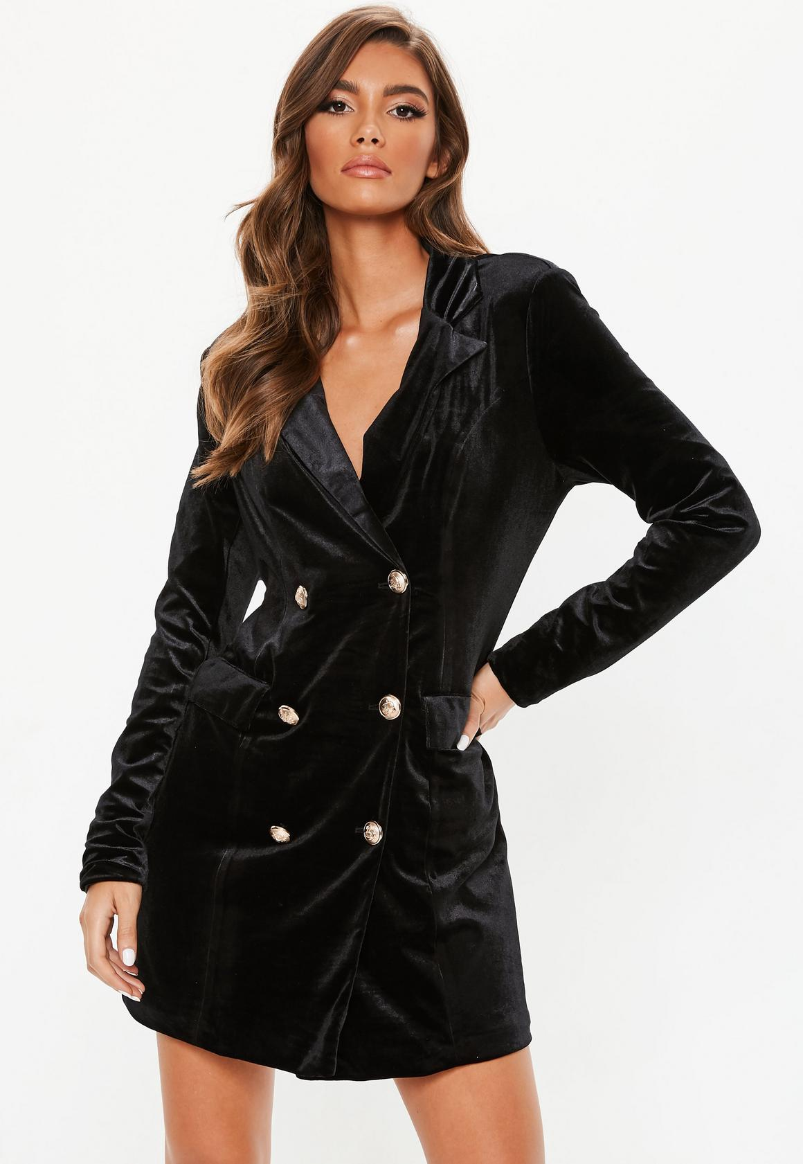 Missguided - robe-blazer en velours e à boutons dorés tall - 1